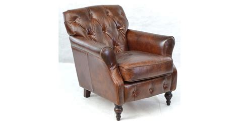 Button Back Leather Armchair In Sofas & Armchairs