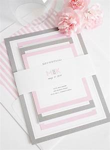 Gorgeous wedding invitations with pink and gray borders for Wedding invitation designs fuchsia pink