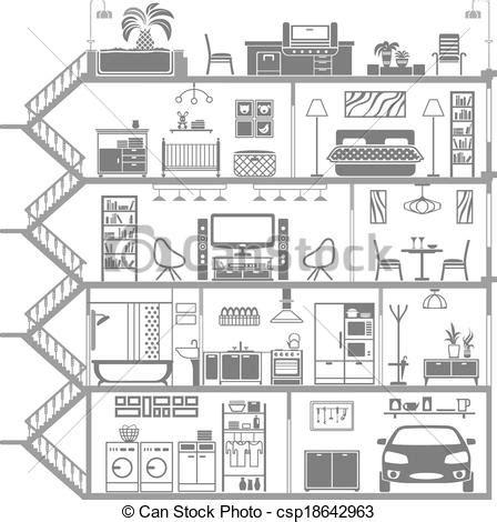 clip vecteur de int 233 rieur maison vecteur illustration silhouette csp18642963