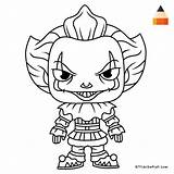 Pennywise Clown Draw Coloring Pages Drawing Cartoon Scary Drawings Cute Halloween Printable Print Easy Colouring Horror Sheets Line Adult Dancing sketch template