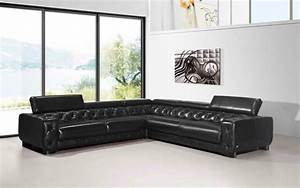 large contemporary black tufted genuine leather sectional With large italian sectional sofa