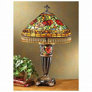 Castlecreekr rose double lit tiffany style table lamp for Miss k table lamp closeout special