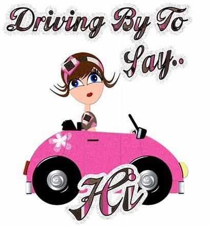Hi Hello Say Animated Driving Glitter Graphics