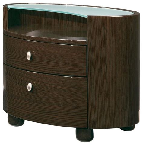 Oval Nightstand by Emily Oval Wenge Finish Leg Nightstand W Glas