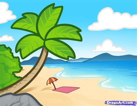 Drawn Beach Background Scenery