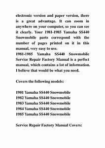 1981 1985 Yamaha Ss440 Snowmobile Service Repair Factory