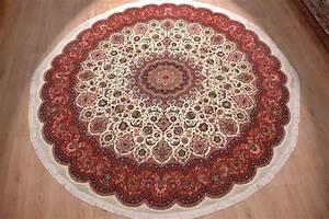 Runder Teppich Wolle : runder teppich taabriz mit seide 296x298 cm beige ~ Markanthonyermac.com Haus und Dekorationen