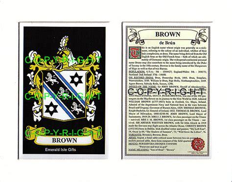 heraldic mounts brown family crest  history