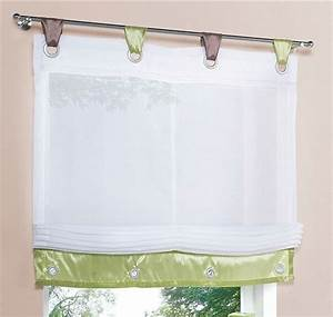 Raffrollo Weiß Transparent : 2 st raffrollo voile 60 x 155 wei gr n braun schlaufe ~ Lateststills.com Haus und Dekorationen