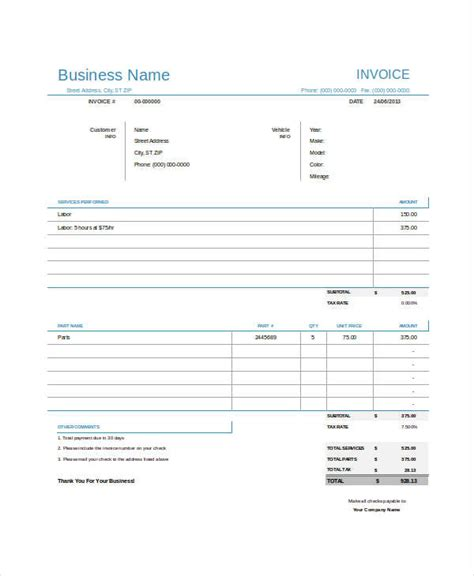auto repair invoice examples samples  google
