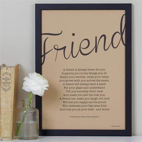 friendship poem print vintage style  bespoke verse