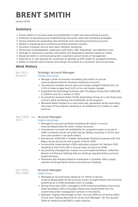 strategic account manager resume sles visualcv resume