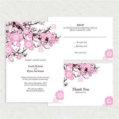 cherry blossom wedding invitation template printable diy