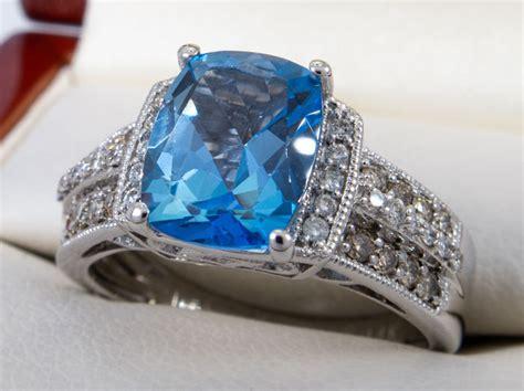 levian  kt gold ct diamond blue topaz ring catawiki