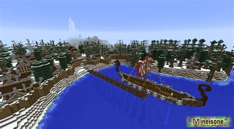 Красивая деревня викингов в Minecraft