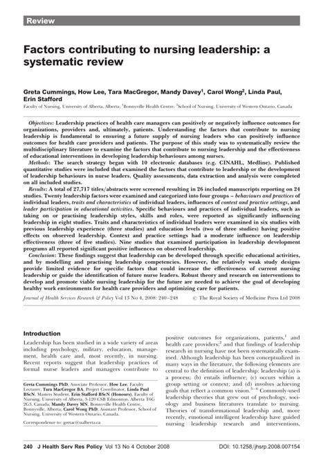 factors contributing  nursing leadership