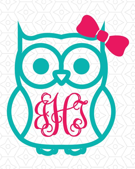 A set of free premium svg icons for you to use on your digital products. Owl with (or without) Bow Monogram Frame Decal Design, SVG ...