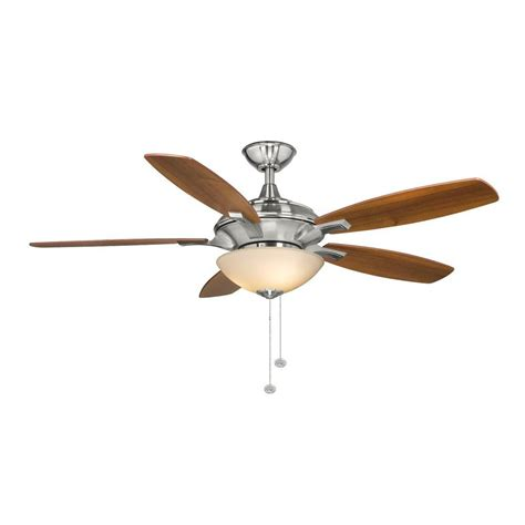 home depot hton bay ceiling fan globe hton bay springview 52 in brushed nickel ceiling fan