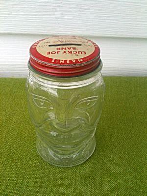 Nash's Mustard Lucky Joe Figural Glass Bank (Coins, Banks