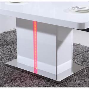 Table A Manger Led : laser table manger 160cm laqu blanc brillant avec led multicolore achat vente table salle a ~ Melissatoandfro.com Idées de Décoration