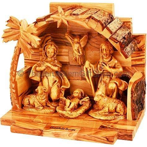 arched manger  olive wood nativity holy land