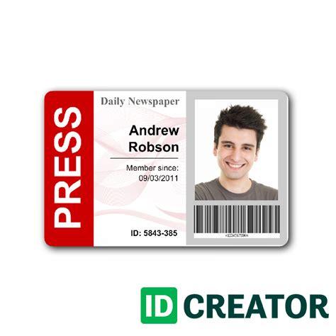 press pass template newspaper press pass id from idcreator