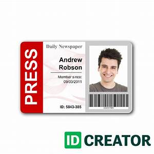 newspaper press pass id from idcreatorcom With media pass template