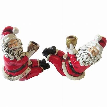 Santa Candle Paper Mache Claus Holders 1950s