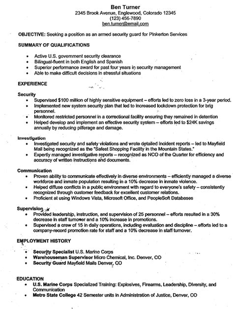 armed security guard resume sle resume ideas