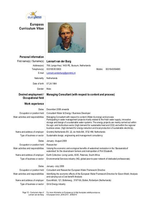 Curriculum Vitae European Format Doc by Cv L N Lennart Der Burg 2012 Eng Europas