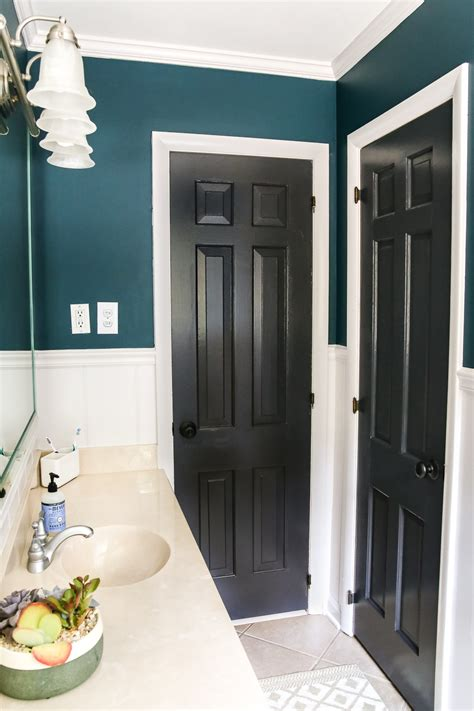 Teal Color Bathroom by Teal Painted Bathroom Makeover Bless Er House