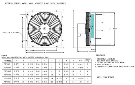 axial wall mount  shutter fan drawing