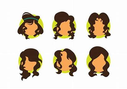 Curly Woman Avatar Cabelo Hairstyle Vectors Clip