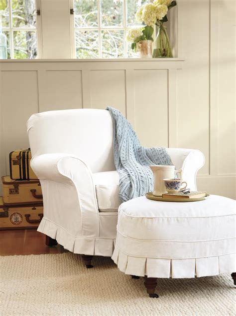 Pottery Barn Slip Cover by Slipcovers For Chairs Ottomans And More Hgtv