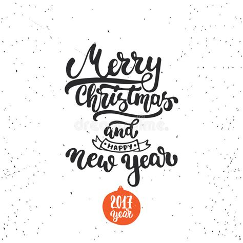 Merry Christmas And Happy New Year  Lettering Holiday Calligraphy Phrase Fun Brush Ink