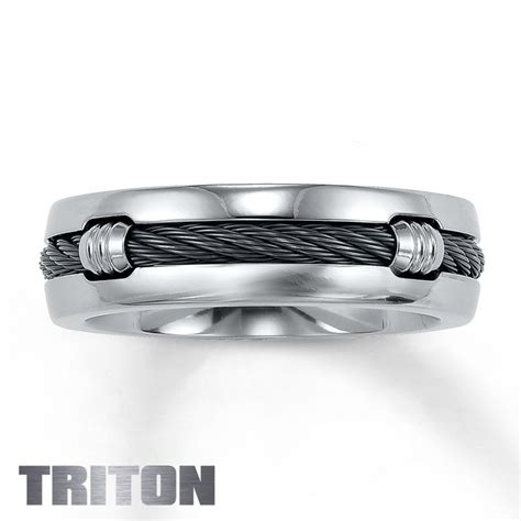 unconventional wedding band triton ring with nitinol cable wedding bands wedding