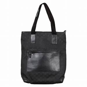 GUCCI Italian Black GG MONOGRAM Canvas TOTE Handbag ...
