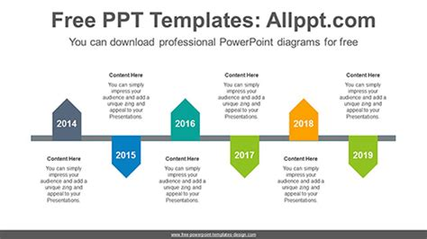 zigzagged pentagon powerpoint diagram template