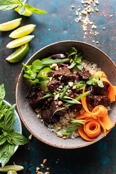 minute vietnamese beef  crispy rice bowl