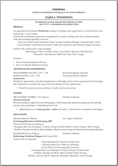 Esthetician Resume With Picture by Esthetician Resume Sle Http Www Resumecareer Info