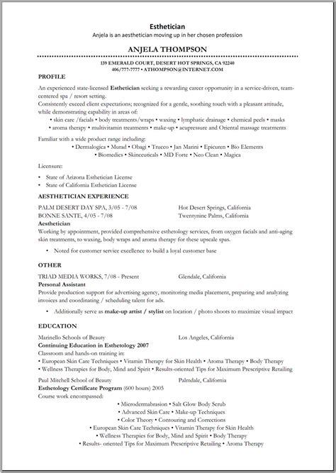 Esthetician Resume Duties by Esthetician Resume Sle Http Www Resumecareer Info
