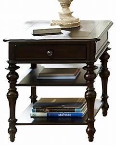Homelegance jackson park rectangular end table in black for Rectangular cherry coffee table