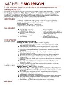 diagnostic sonographer free sle resume elements of an ultrasound technician sle resume