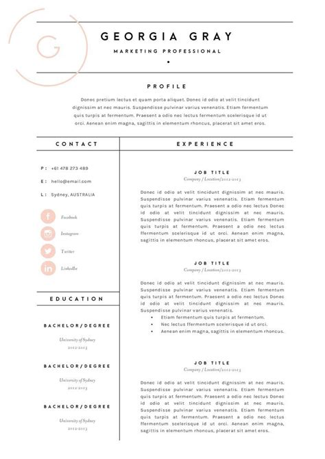 20722 designer resume templates fashion resume template best resume collection