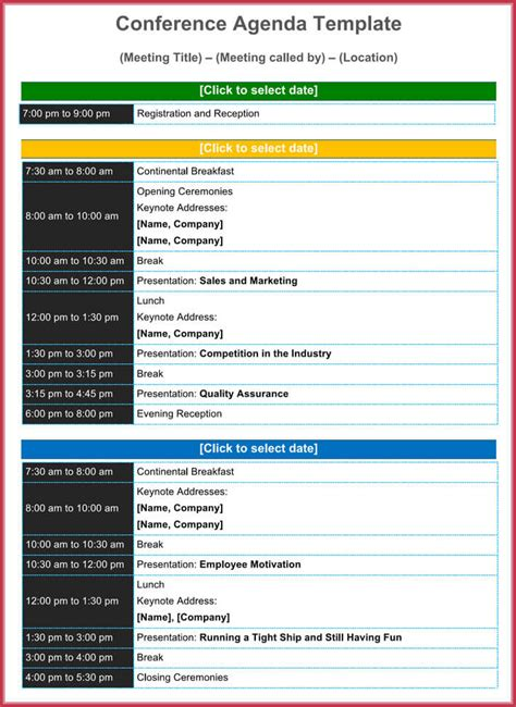 conference agenda template   samples formats
