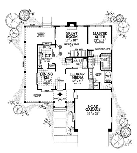 House Plan 90282 Ranch Style with 1295 Sq Ft 2 Bed 2