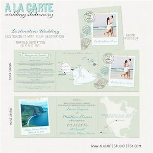 Beach destination wedding invitation tri fold invitation for Tri fold beach wedding invitations