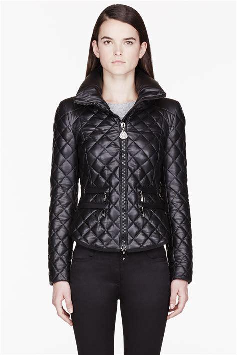 black quilted vest lyst moncler black leather quilted jacket in black