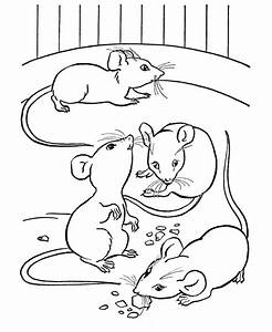 Farm animal coloring page | Mice eating cheese | Party on ...