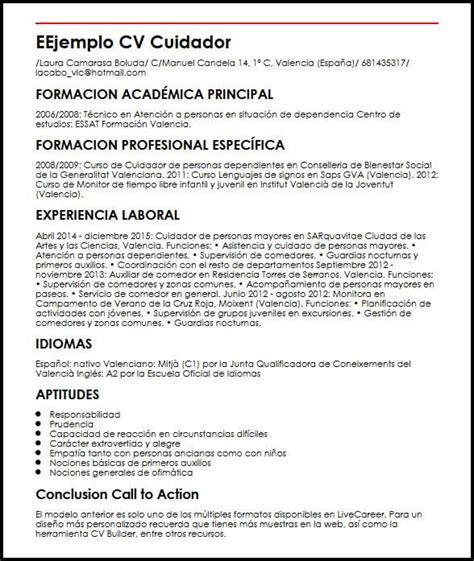 foto de Ejemplo de CV para cuidador MiCVideal